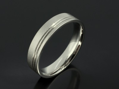 Gents Palladium 5mm Wedding Ring with Grovved Lines and a Distressed Finish.