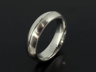 Gents Palladium Wedding Ring 6mm Heavy Weight with Brushed and Polished Finish.