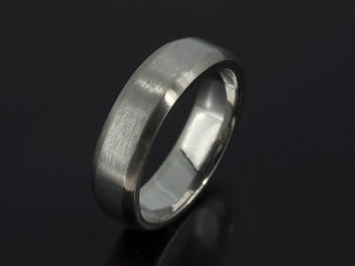 Gents Palladium and 18kt White Gold Brushed Chamfered Edged Wedding Ring.