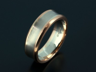 Gents Concave 18kt White Gold and Red Gold Wedding Ring.