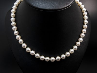 White Round Akoya Pearl Necklace 6.5-7mm With A Gold Plated Silver Lobster Clasp. Available In Store £560.00