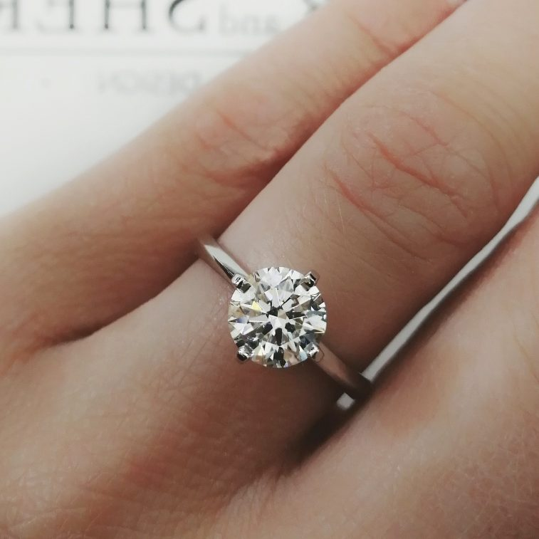 Engagement Ring Round Brilliant 1.46ct F Colour SI1 Clarity in a Platinum 4 Claw Solitaire Setting.