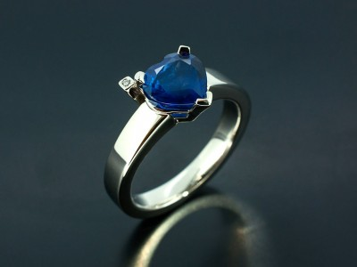 Heart Shaped 2.19ct Sapphire with Round Brilliant Diamond in a Palladium Setting. Copy