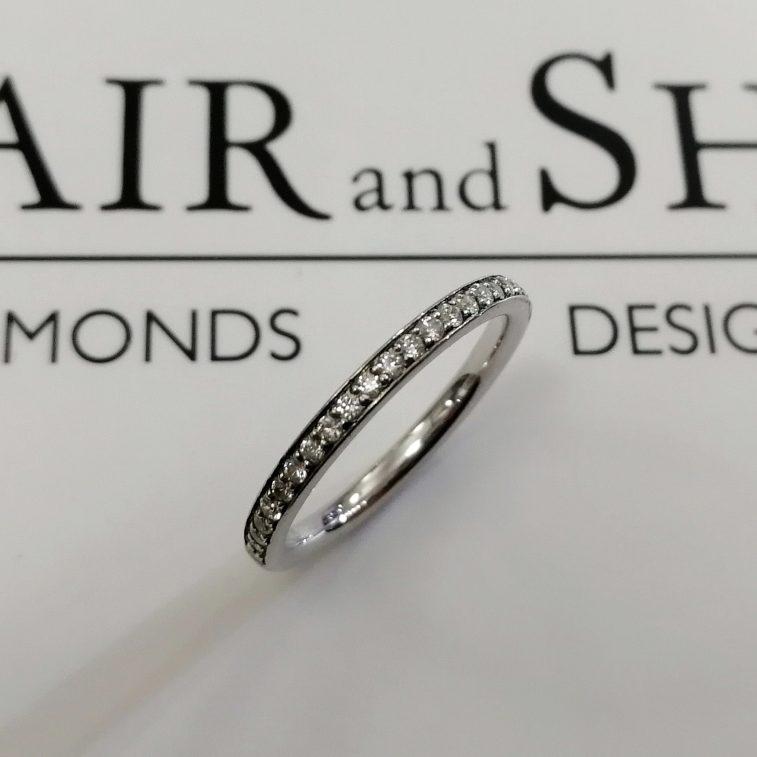 Ladies Wedding Ring Platinum Diamond Pavé Set Design 0.30ct total.