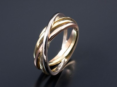 Ladies Multi Tone 18kt Yellow White Red and Green Gold Wedding Ring.
