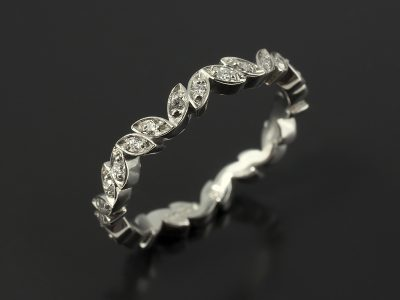 Palladium Leaf Detail Round Brilliant Diamond Pavé Set Wedding Ring.