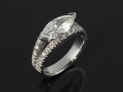 Marquise Cut 1.51ct E Colour VS2 Clarity in a Platinum Double Split Band Diamond Claw Set Design.
