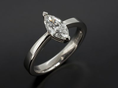 Marquise Cut Diamond 0.62ct D colour VS1 Clarity Set in Palladium in a Solitiare Design