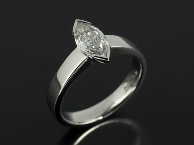 Marquise Cut 0.70ct F Colour SI1 Clarity in a Platinum Tension Set Contemporary Design.
