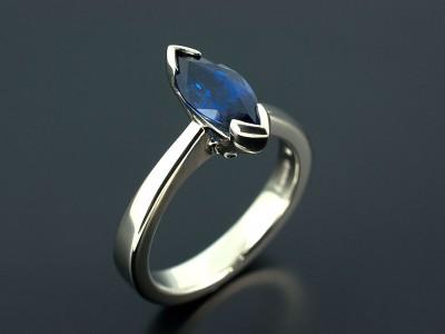 Marquise 1.2ct Blue Sapphire in a Palladium Setting. Copy