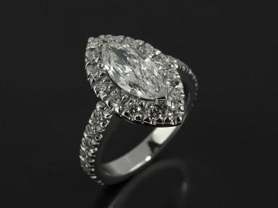 Marquise Cut 0.90ct D Colour SI1 Clarity in a Platinum Diamond Set Halo Design.