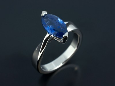 Marquise Sapphire 2.88ct in a Palladium Setting with Twist Shoulders