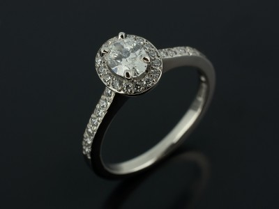 Oval 0.51ct E Colour SI1 Clarity in a Palladium Pave Set Halo Design