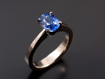 Oval 1.81ct Ceylonese Blue Sapphire in a 18kt White Gold High Palladium Alloy 4 Claw Setting