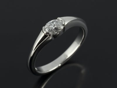 Oval Cut Diamond, 0.40ct, F Colour, VS Clarity Part Rub-over Set in Platinum