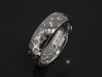 Palladium Secret Set Scatter Pattern Eternity / Dress Ring. Round Brilliant Cut Diamonds x 38 F Colour VS Clarity Minimum.