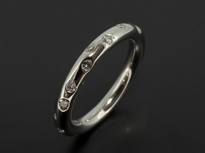 Palladium Diamond Secret Set Scatter Design Wedding / Eternity Ring.
