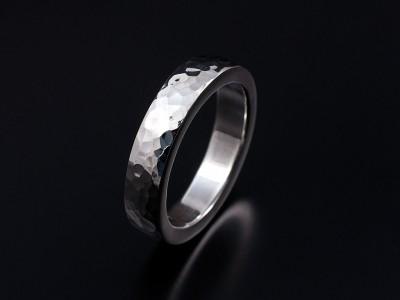 Palladium 5mm Width Hammered Finish Gents Wedding Ring.