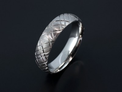 Palladium Court Shaped Gents Wedding Ring with a Tartan Inspired Design.