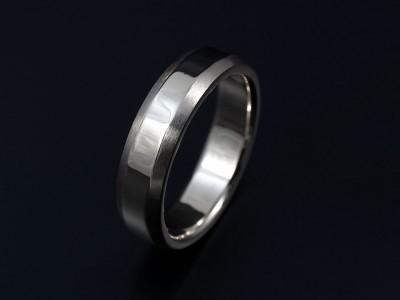 Palladium Gents Wedding Ring 7mm with Chamfered Edges. Polished and Brushed Finish.