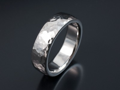 Palladium 7mm Hammered Finish Gents Wedding Ring.