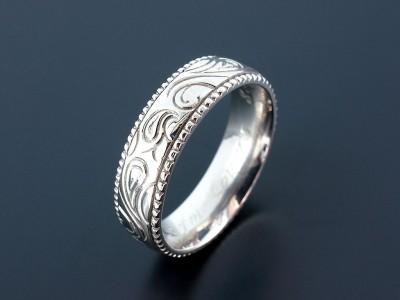 Palladium Paisley Pattern Filigree Gents Wedding Ring.