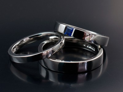 Palladium and Square Sapphire Engagement Ring with Matching Gents and Ladies Wedding Rings.