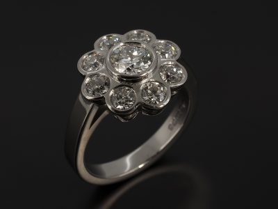 Palladium Cluster Rub Over Set Dress / Eternity Ring with Round Brilliant Cut Diamonds 1.18ct and 0.59ct Total in Halo.