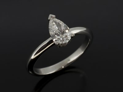 Pear Shape Diamond, 0.75ct, E Colour, VS2 Clarity Claw Set Platinum Solitaire Design