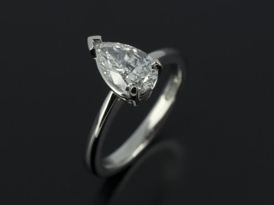 Pear Cut 0.82ct D Colour SI1 Clarity in Platinum Solitaire Setting.