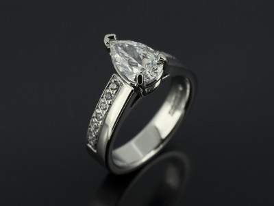 Pear 0.92ct D VS2 in a Palladium Diamond Pavé Set Design.