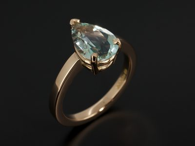 Pear Cut Aquamarine 1.64ct in an 18kt Rose Gold Claw Set Solitaire Design.