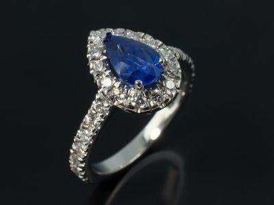 Pear Cut Sapphire 1.31ct in a platinum diamond claw set halo design