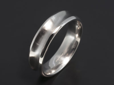 Platinum 6mm Concave Design Gents Wedding Ring with Brushed and Polished Finish.