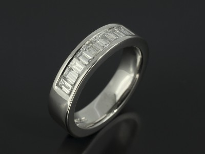 Platinum Channel Set Diamond Baguette Wedding Ring. 0.90ct Total F Colour VS Clarity Min.