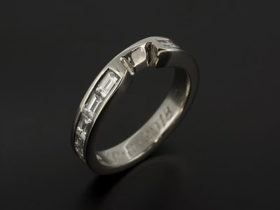 Platinum Fitted Channel Set Wedding Ring with 1.00ct Baguette Cut Diamonds.