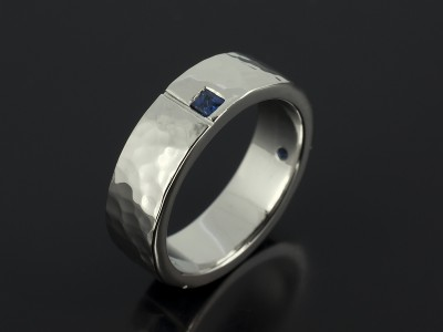 Platinum Hammered Finish Square Sapphire Set Gents Wedding Ring.