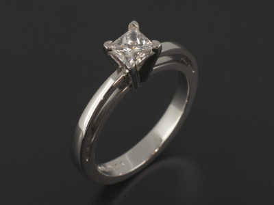 Princess Cut 0.50ct D Colour VS1 Clarity in a Platinum 4 Claw Solitaire Design with Gapped and Raised Shoulders.