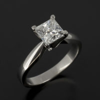 Princess Cut Diamond, 1.01ct, D Colour, SI2 Clarity Claw Set in Platinum In a Solitaire Design