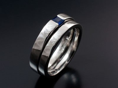 Platinum Step Cut Sapphire Engagement Ring with Fitted Wedding Ring.