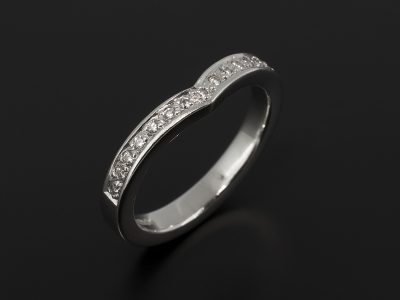 Platinum Wishbone Shaped Diamond Pavé Set Fitted Wedding Ring.