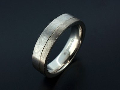 Platinum and 18kt White Gold Gents Two Tone Wedding Ring.