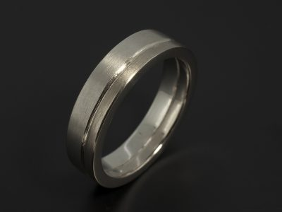 Gents Platinum and 18kt White Gold 5mm Brushed Finish Wedding Ring.