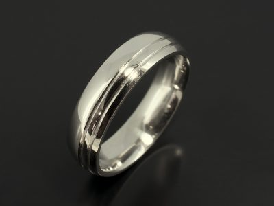 Platinum 6 mm Gents Polished Wedding Ring with 2 Grooves off set in Band.