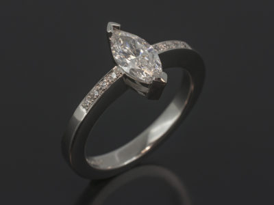 Marquise Cut 0.72ct E Colour SI2 Clarity in a Platinum Claw and Pavé Set Design.