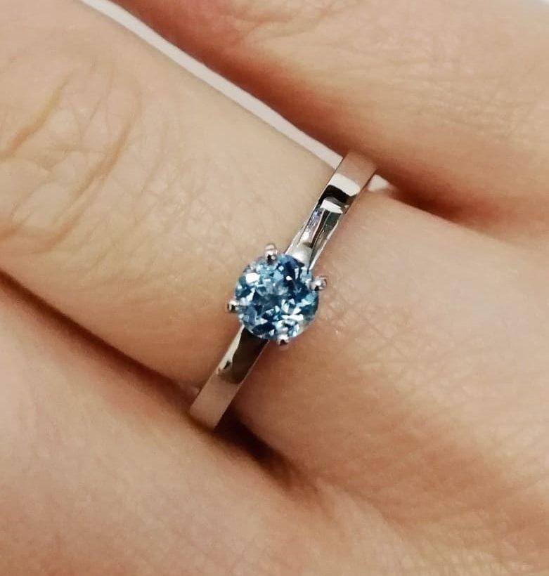 round brilliant cut aquamarine, platinum claw set ring with march birthstone, handmade aquamarine platinum ring, platinum dress ring with claw set aquamarine