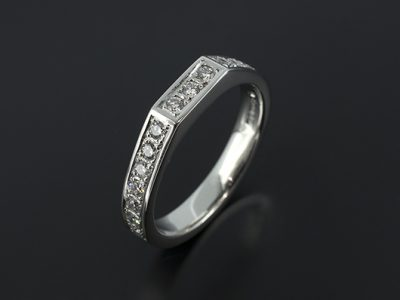 Platinum Fitted Pavé Set Diamond Wedding Ring For Diamond Halo Design Engagement Rings.