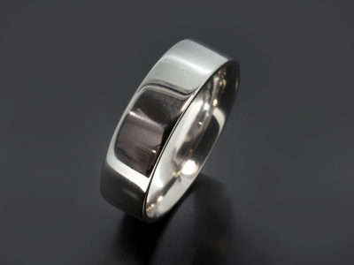 Platinum Flat Easy Fit Shaped Wedding Ring. 6mm Width with a Polished Finish.
