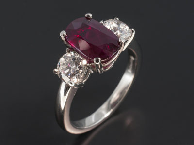 Platinum Four Claw Set Ruby 2.81ct & Diamond 1.31ct (2) Trilogy Design Ring