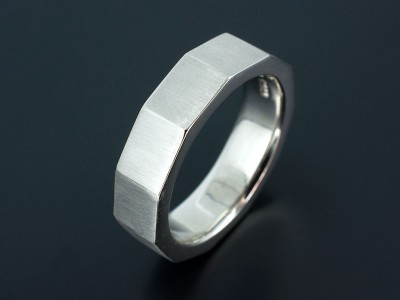 Platinum Gents Wedding Ring with Multiple Flattened Edges.